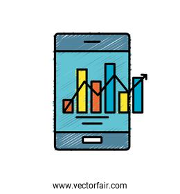 smartphone technology with statistics bar diagram
