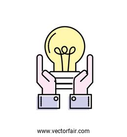 businessman with bulb idea with hands up