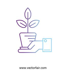 line ecology plant with flowerpot and leaves in the hand