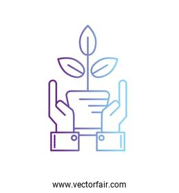 line ecology plant with flowerpot and leaves with hands
