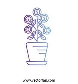 line plant with coins leaves inside flowerpot