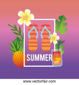 summer season vacation with tropical trees and activities