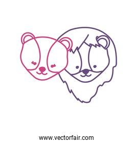 silhouette cute lion head animal couple together