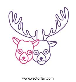 silhouette cute elk head animal couple together