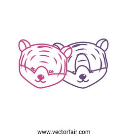 silhouette cute tiger head animal couple together
