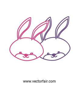 silhouette cute rabbit head animal couple together