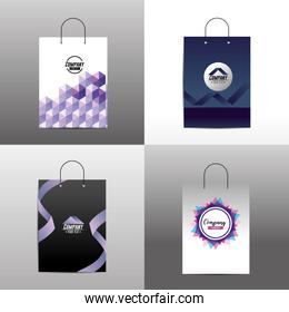 set stationary template with corporate bag accesory