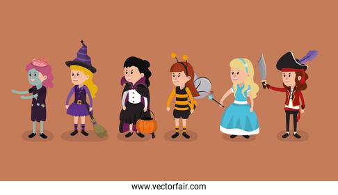 Girls with halloween costumes