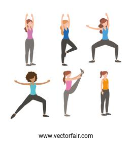 set fitness women doing exercise