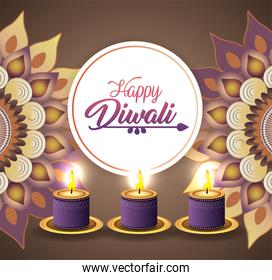 diwali candles lits with mandlas decoration