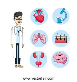 set doctor with stethoscope and medical treatment