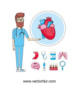 doctor stethoscope with heart diagnosis treatment