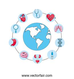global planet with stethoscope and syringe treatment