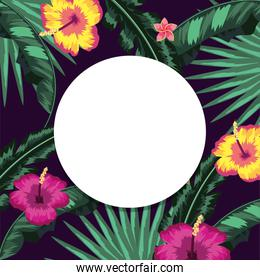 circle sticker with flowers and leaves background