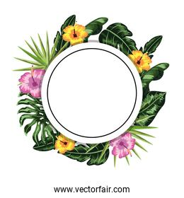 circle sticker with flowers and leaves decoration
