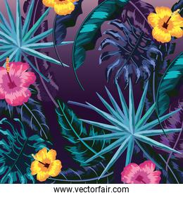 natural flowers with plants leaves background