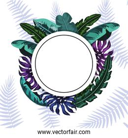 circle sticker with natural leaves plants