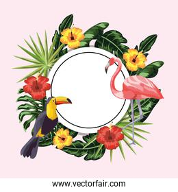 circle sticker with toucan and flamingo in the flowers and leaves