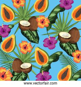 tropical fruits and leaves plants background