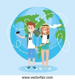 woman and man with smartphone to travel aorund the world