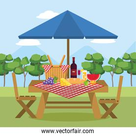 wine with watermelon fruit in the table with umbrella