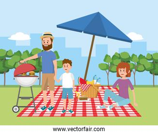 family picnic with umbrella and basket with fruit
