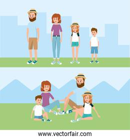 happy family together with hairstyle and clothes