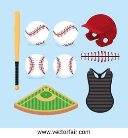 set professional baseball game with equipment