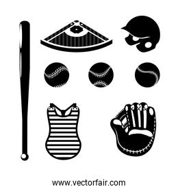 set silhouette professional baseball game with equipment