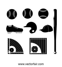 set silhouette baseball sport game with professional equipment