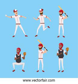 set baseball player with professional uniform and equipment