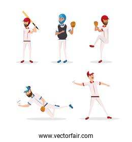 set baseball players team with uniform and equipment