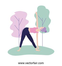 woman doing yoga posture balance