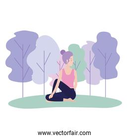 woman doing yoga exercise posture