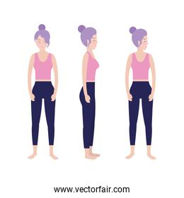 set fitness woman relax concentration balance