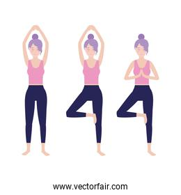 set fitness woman practice exercise