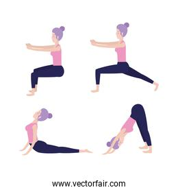 set woman doing exercise posture