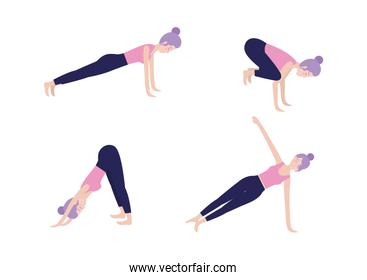 set healthy woman doing exercise