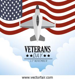 united states flag and military airplane