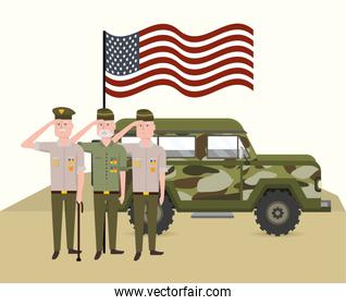 military soldiers with usa flag and car