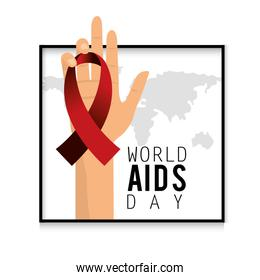 hand with red ribbon to aids day campaign