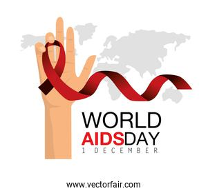 red ribbon in the hand to world aids day