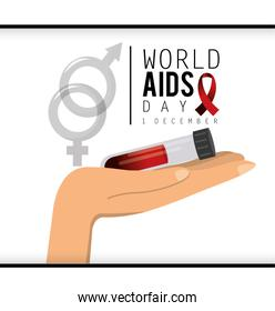 blood in the hand to world aids day