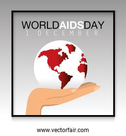 hand with global planet to world aids day prevention