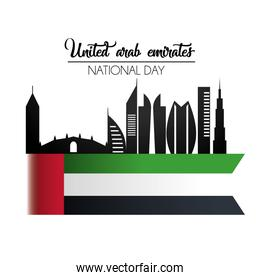 uae flag with building to national day celebration