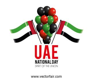 uae flags and balloons to celebrate national day