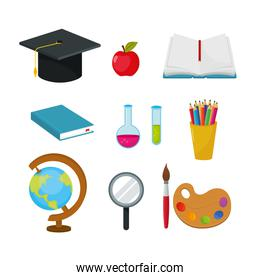 set graduate cap with apple and erlenmeyer flask