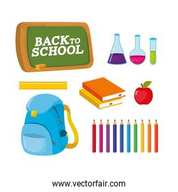 set blackboard with erlenmeyer flask and books