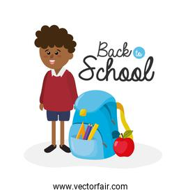 student boy wearing uniform with backpack and apple