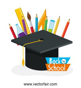 graduate cap with pencils colors and paintbrush